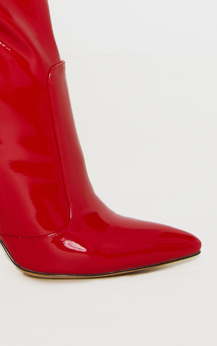 Red Patent Knee High Boot 3