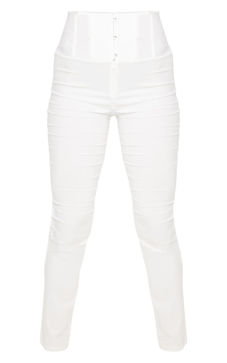 Cream Skinny Corset Detail Pants 3