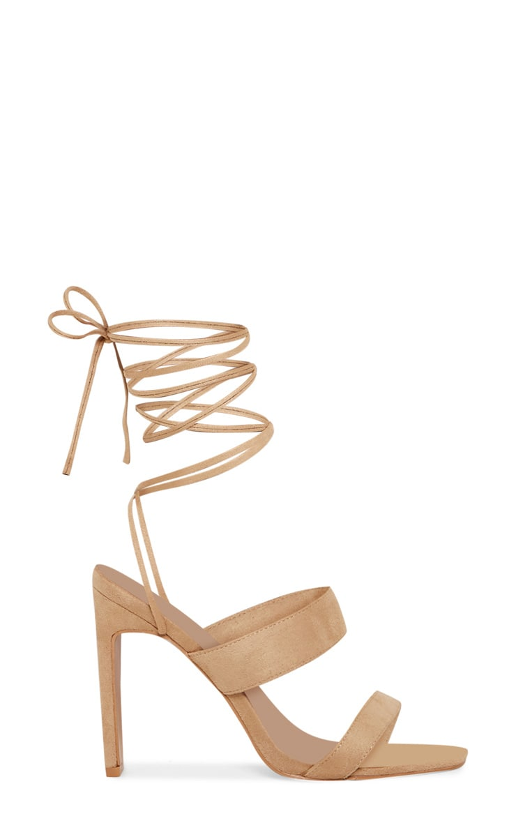Nude Ankle Lace Up Mule Heel 3