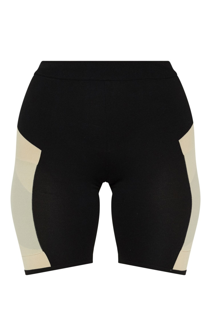 Stone Seamless Knit Panelled Gym Cycle Short 3