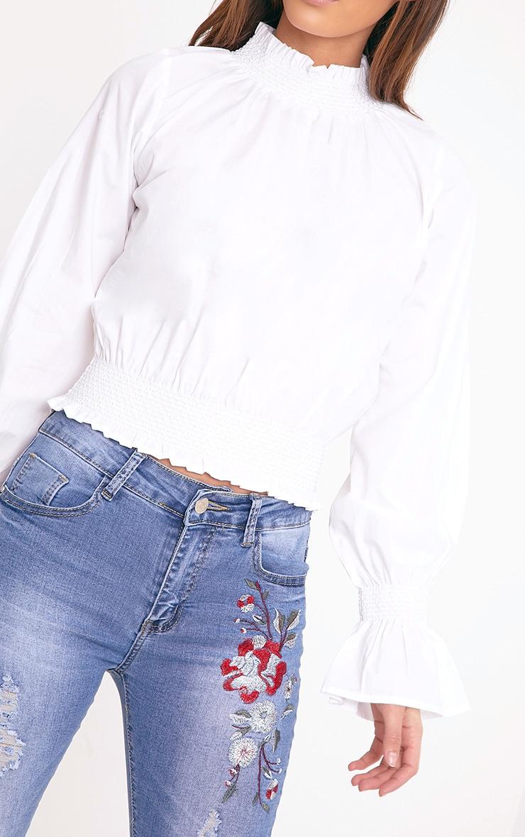 Audra White Smocked High Neck Cotton Blouse 5
