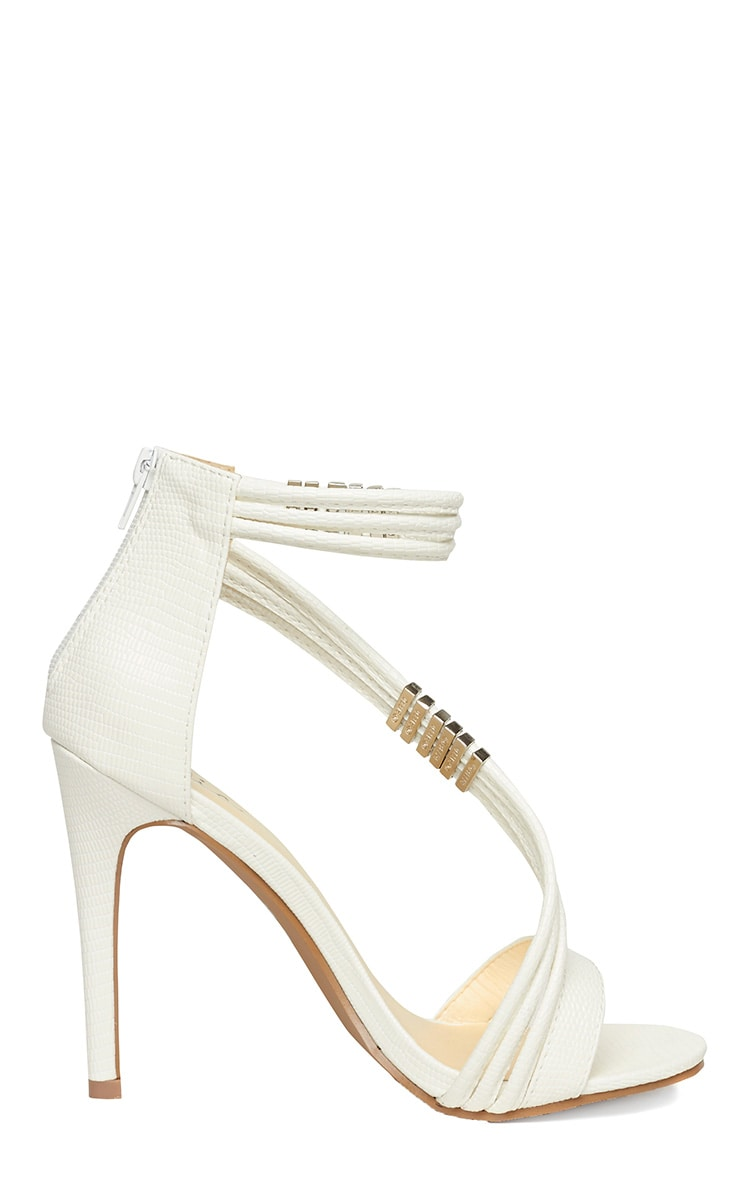Riley White Cross Strap Heeled Sandals 7