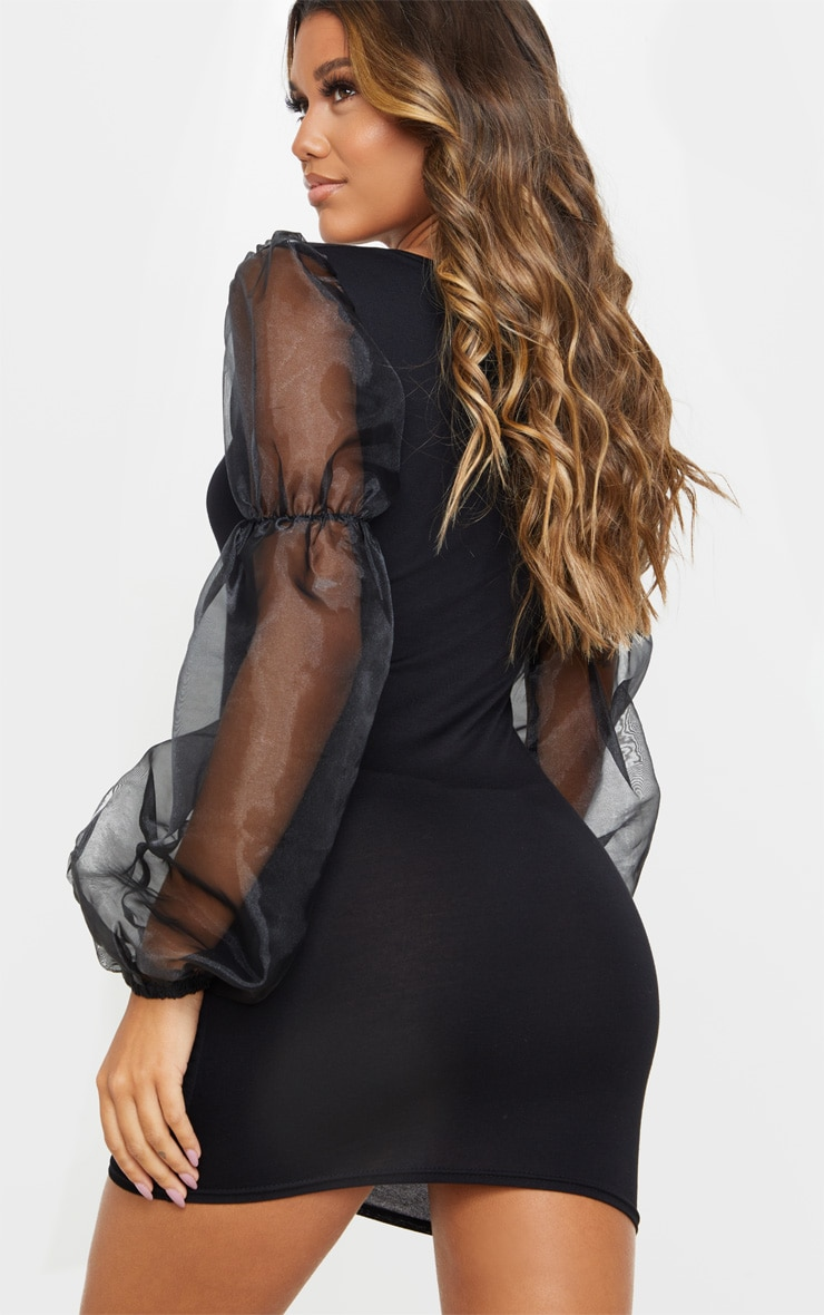 Black Organza Long Puff Sleeve Jersey Bodycon Dress 2
