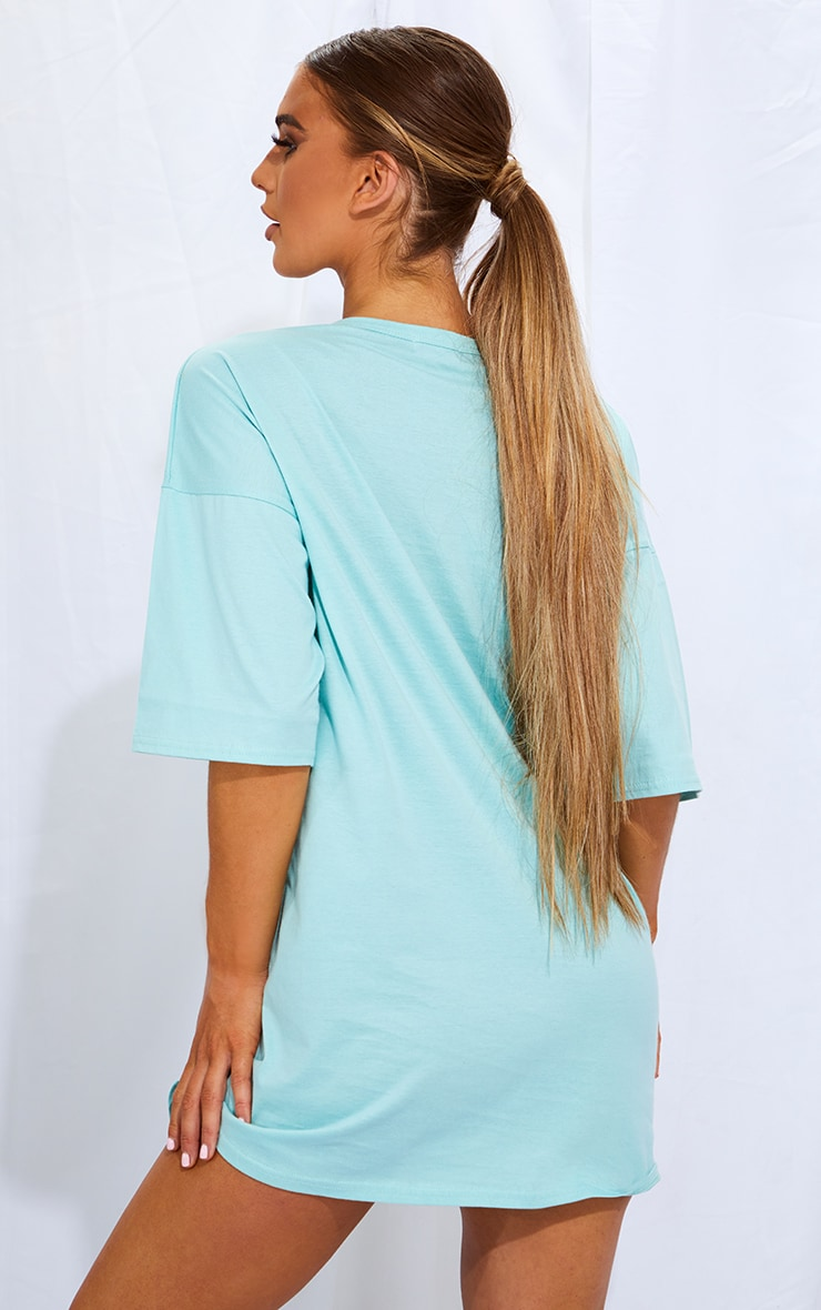 PRETTYLITTLETHING Mint Slogan Oversized Boyfriend T Shirt Dress 2