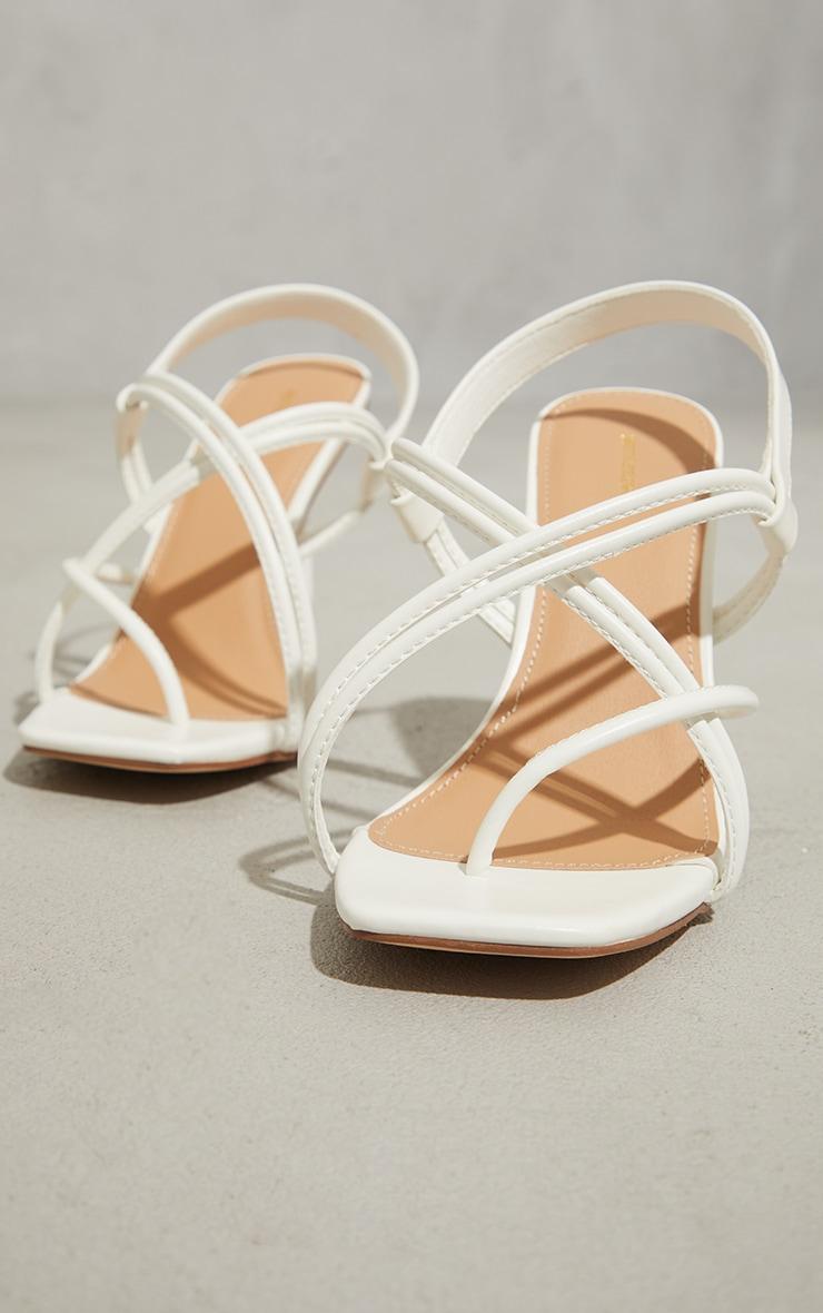 White PU Knot Toe Loop Slingback High Flare Heel Sandals 4