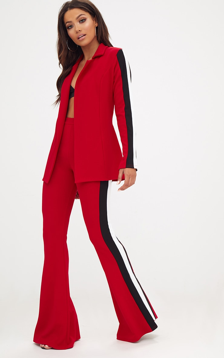 Red Sports Stripe Flared Trouser 1