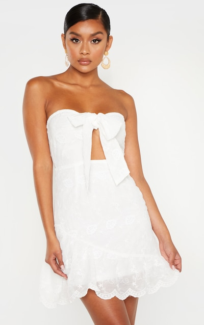 e850d55270f0a White Broderie Bandeau Skater Dress