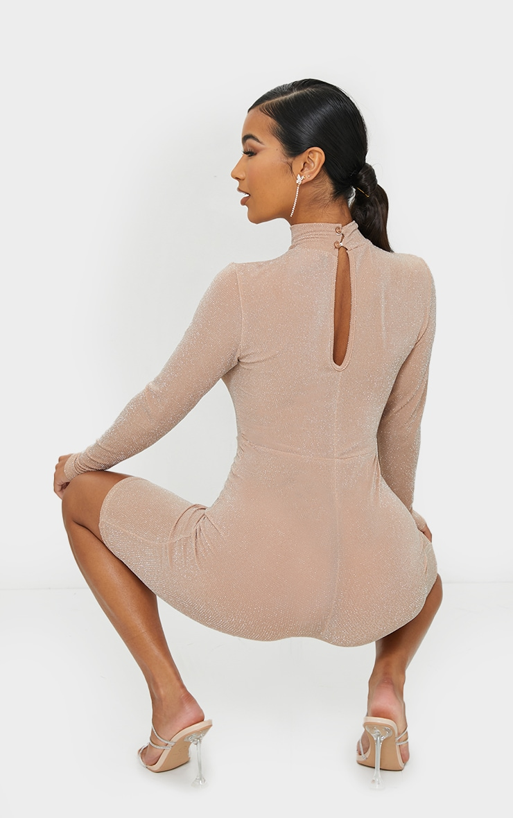 Nude Glitter Long Sleeve Unitard 2