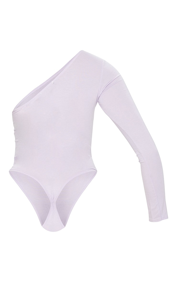 Lilac One Shoulder Jersey Long Sleeve Bodysuit 6
