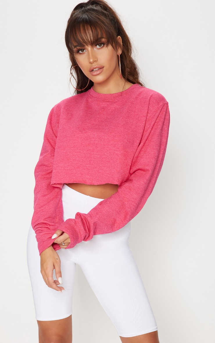 Pink Long Sleeve Crop Sweater  1