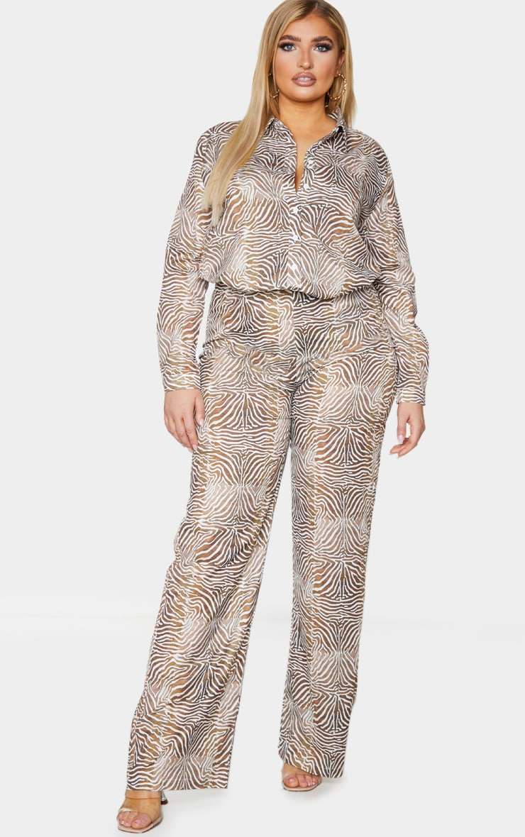 Plus Brown Zebra Printed Chiffon Wide Leg Pants 1