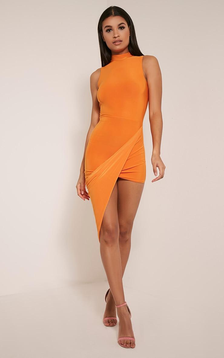 Prim Bright Orange Slinky Drape Asymmetric Dress 10