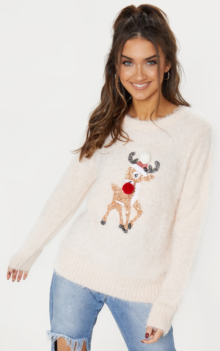 Soft Pink Eyelash Sequin Reindeer Knitted Christmas Jumper
