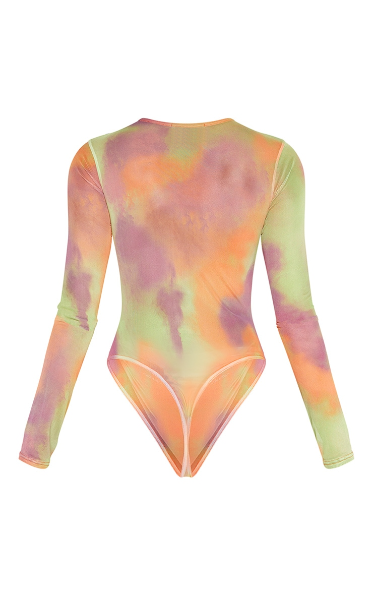 Multi Tie Dye Printed Sheer Mesh Crew Neck Bodysuit 6