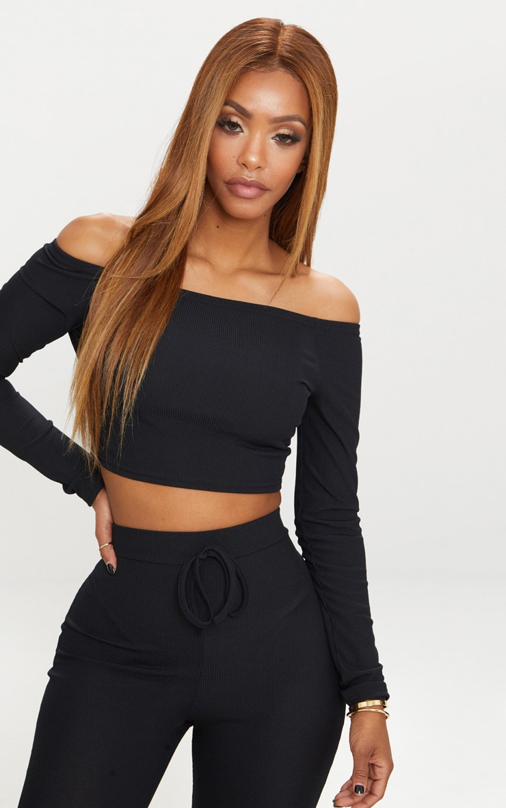 Shape Black Ribbed Bardot Long Sleeve Crop Top 1