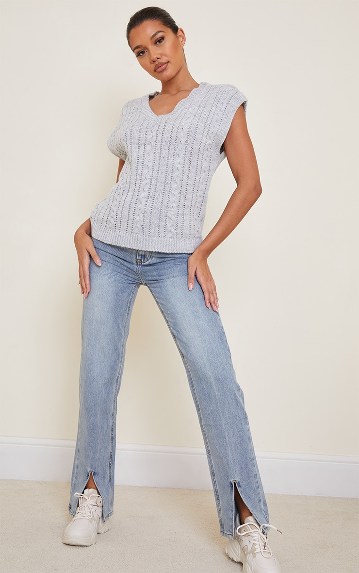 Grey Cable Knitted Vest 3