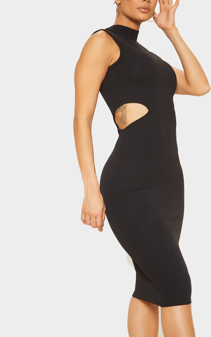 Black High Neck Waist Cut Out Sleeveless Midi Dress 5