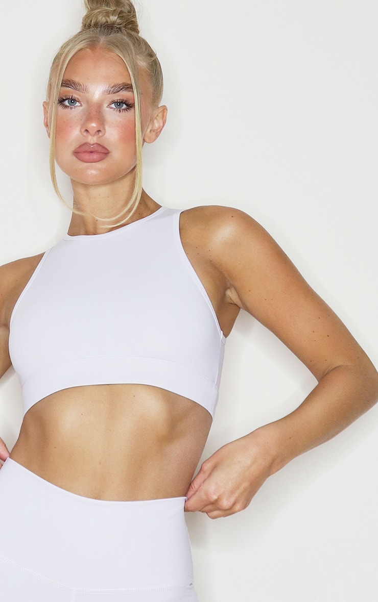 Light Grey Sculpt Luxe Racer Neck Sports Crop Top 4