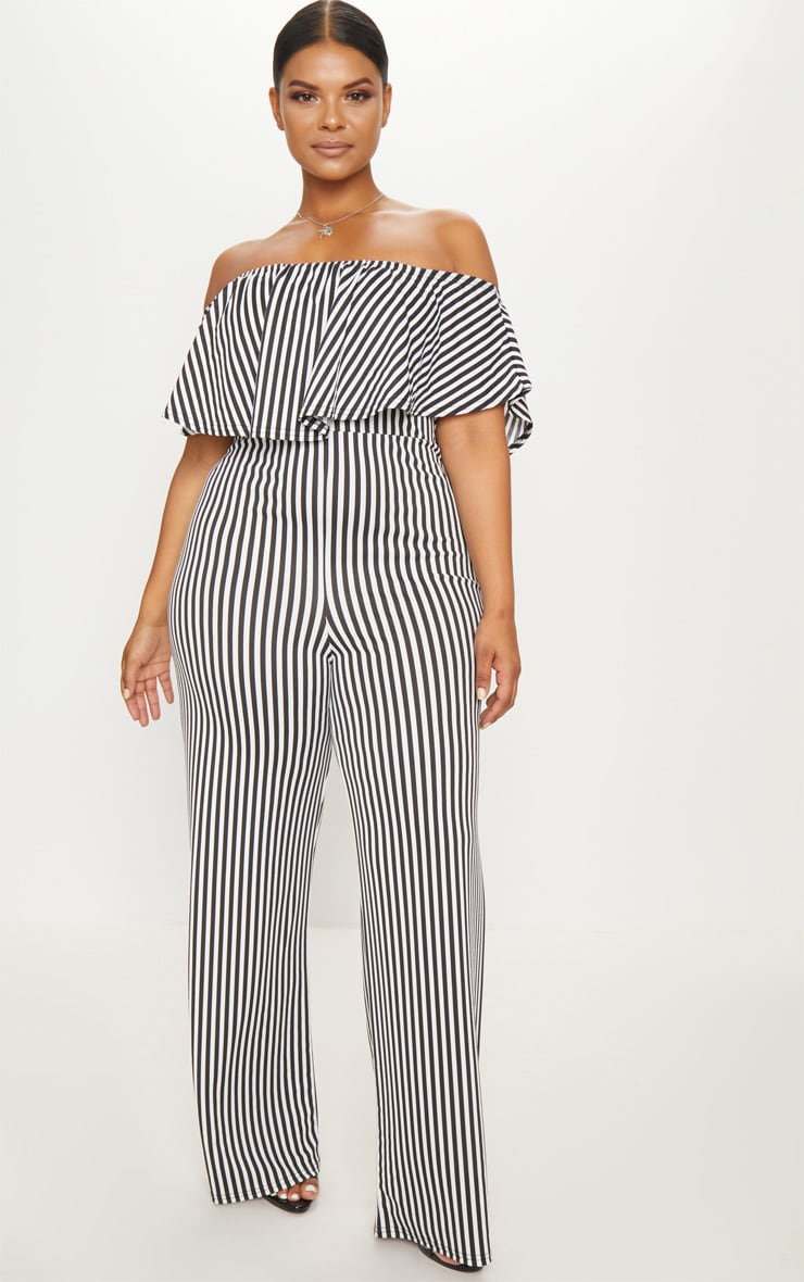 5f350e868fe Plus Black Striped Bardot Frill Culotte Jumpsuit