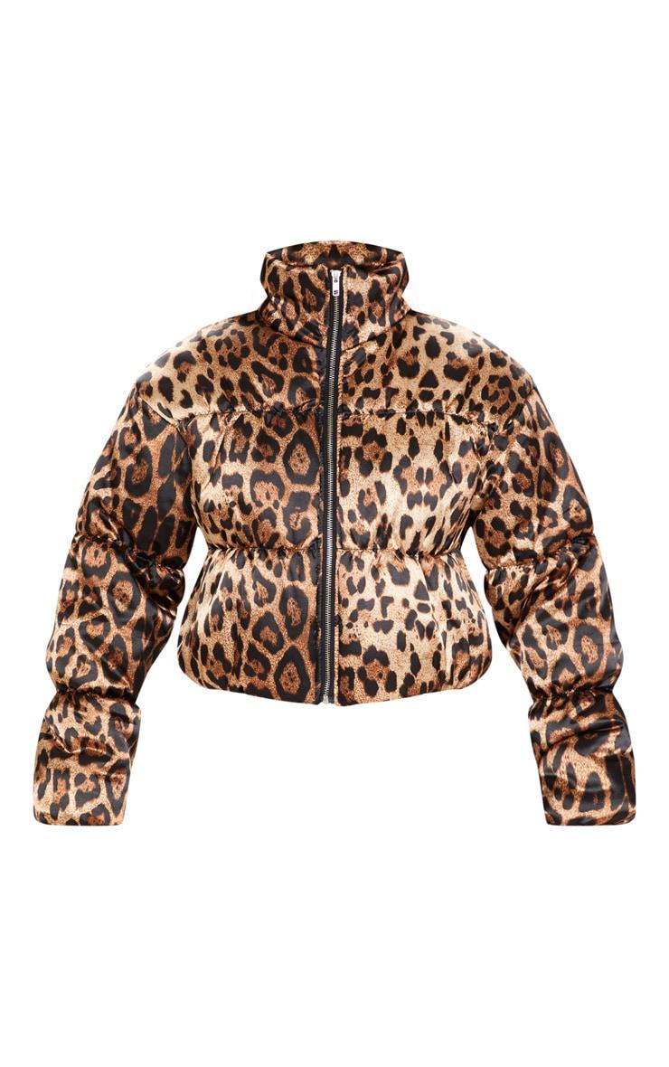 Leopard Print Satin Puffer 3