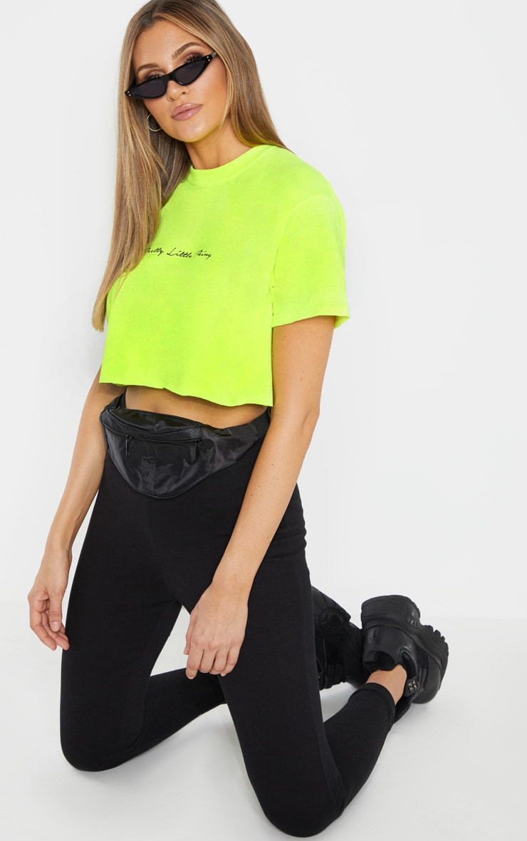 PRETTYLITTLETHING Tall Neon Lime Slogan Cropped T-Shirt 4