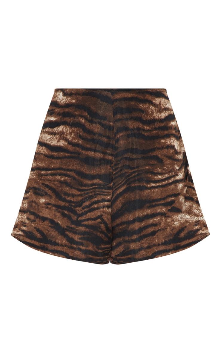 Chocolate Tiger Print Floaty Shorts 3