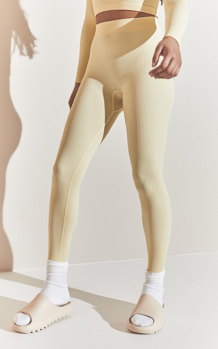 Cream Structured Contour Ribbed Leggings 2