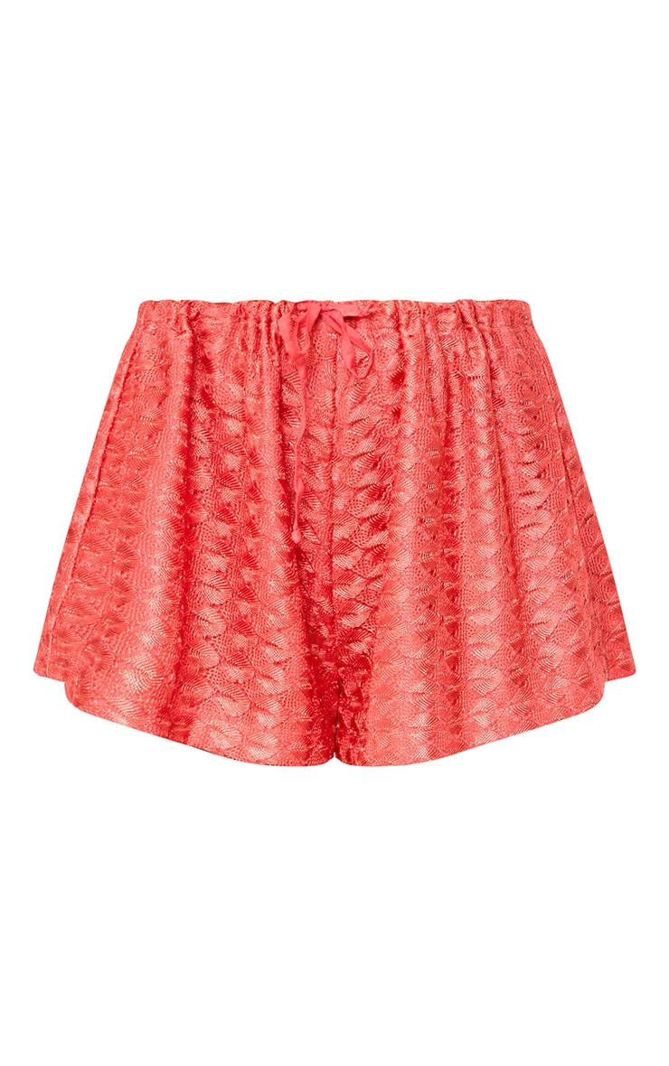 Coral Metallic Crochet Drawstring Shorts 4