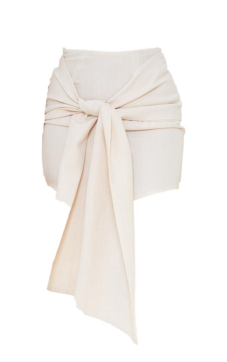 Petite Ecru Wrap Over Bodycon Skirt 6