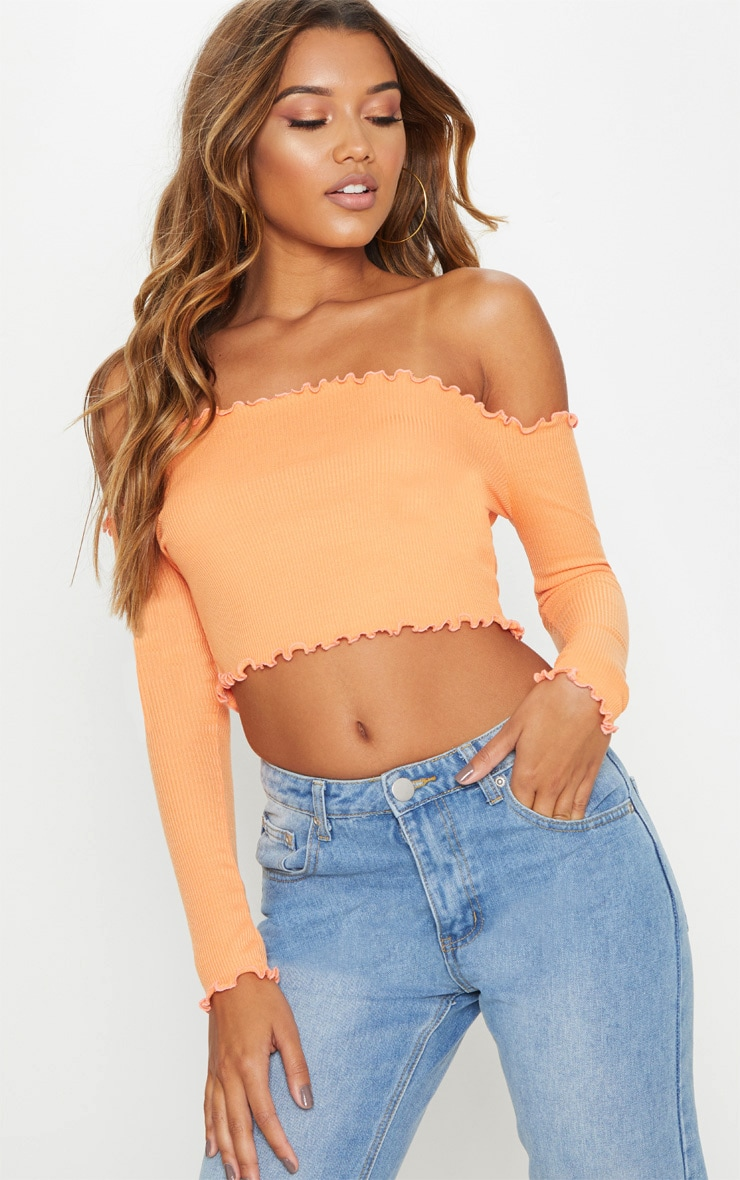 Tangerine Frill Edge Crop Top  1