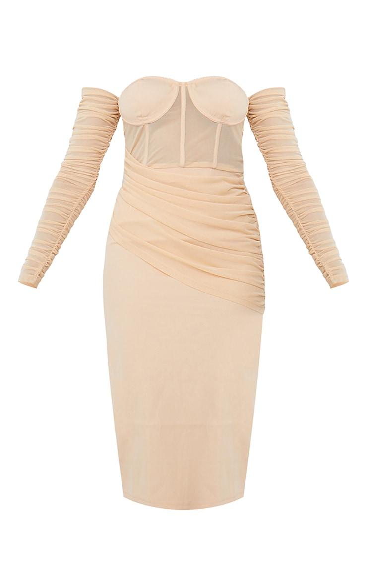 Nude Mesh Drape Corset Detail Bardot Midi Dress 5