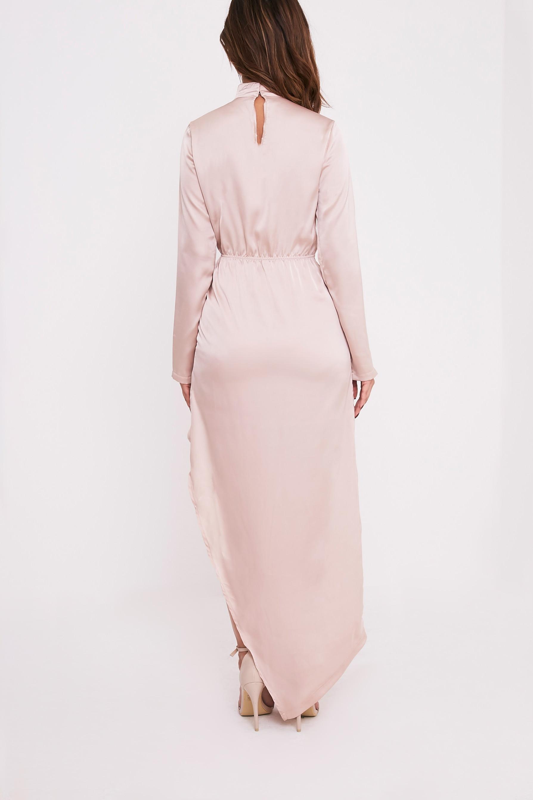Melody Champagne Choker Detail Asymmetric Maxi Dress 2