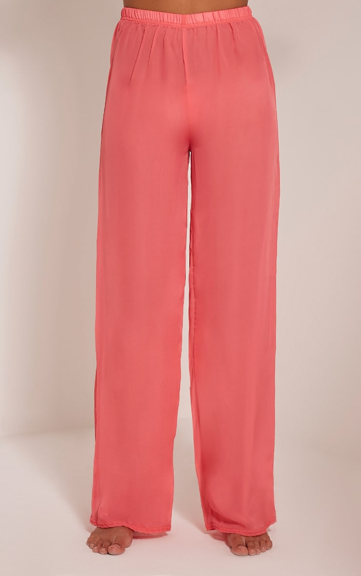 Ashlyne Coral Chiffon Beach Trousers 2