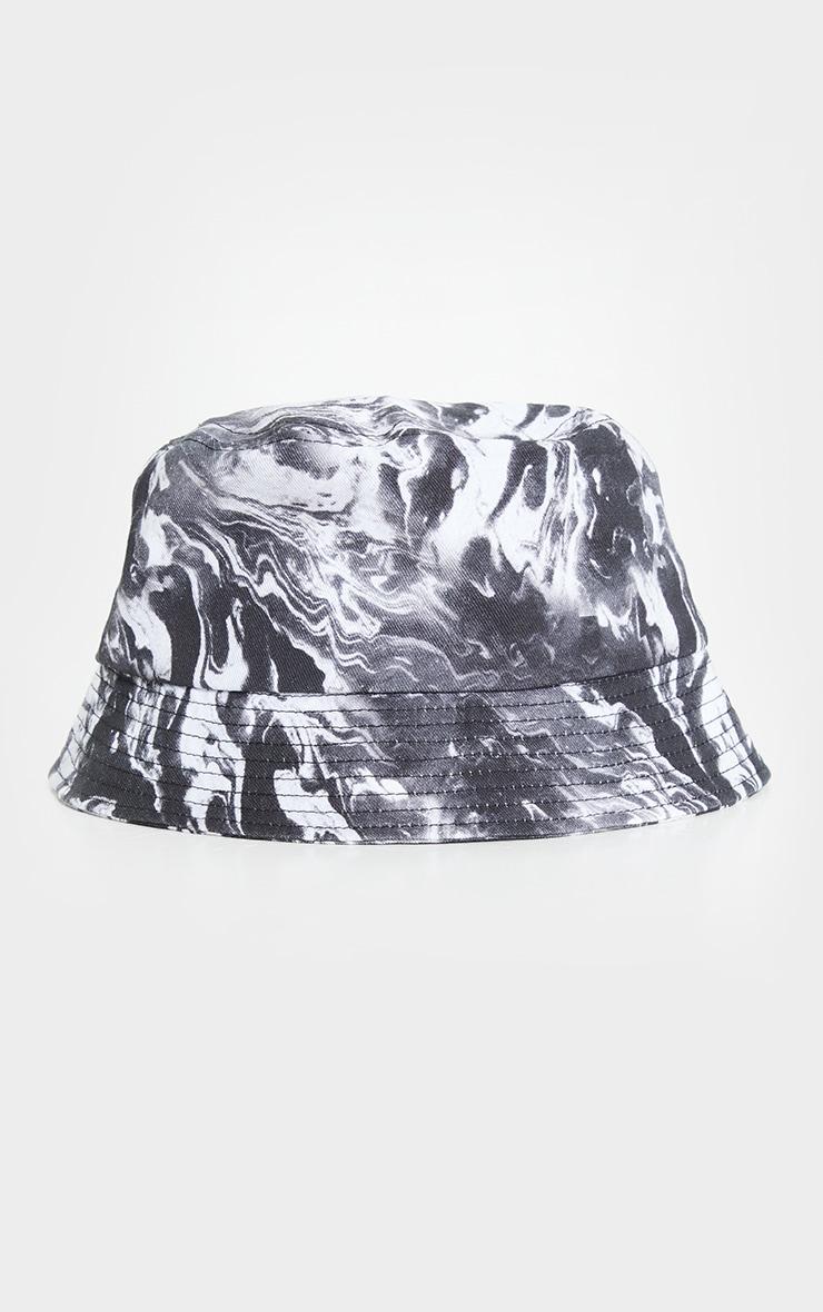 Black Contrasting Marble Bucket Hat 2