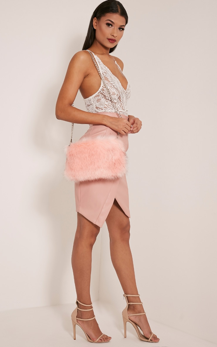 Christah Baby Pink Faux Fur Chain Shoulder Bag 3