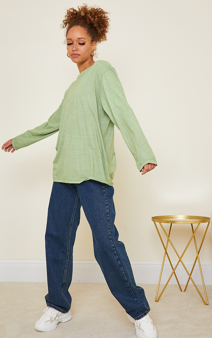 Sage Green LA Oversized Long Sleeve T Shirt 3