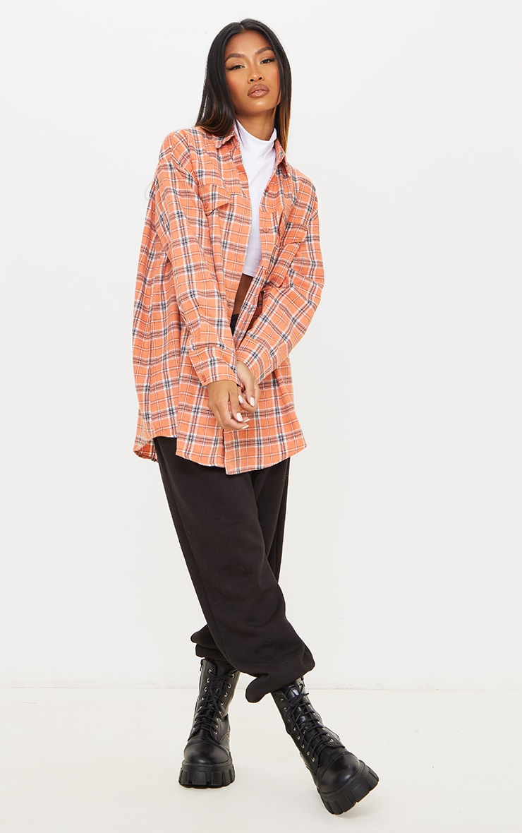 PRETTYLITTLETHING Orange Back Print Checked Oversized Shirt 3