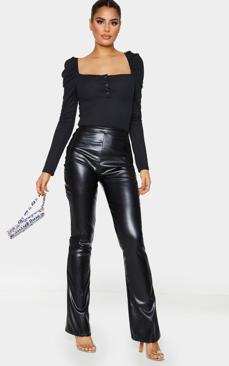 Tall Black Rib Puff Long Sleeve Bodysuit 3