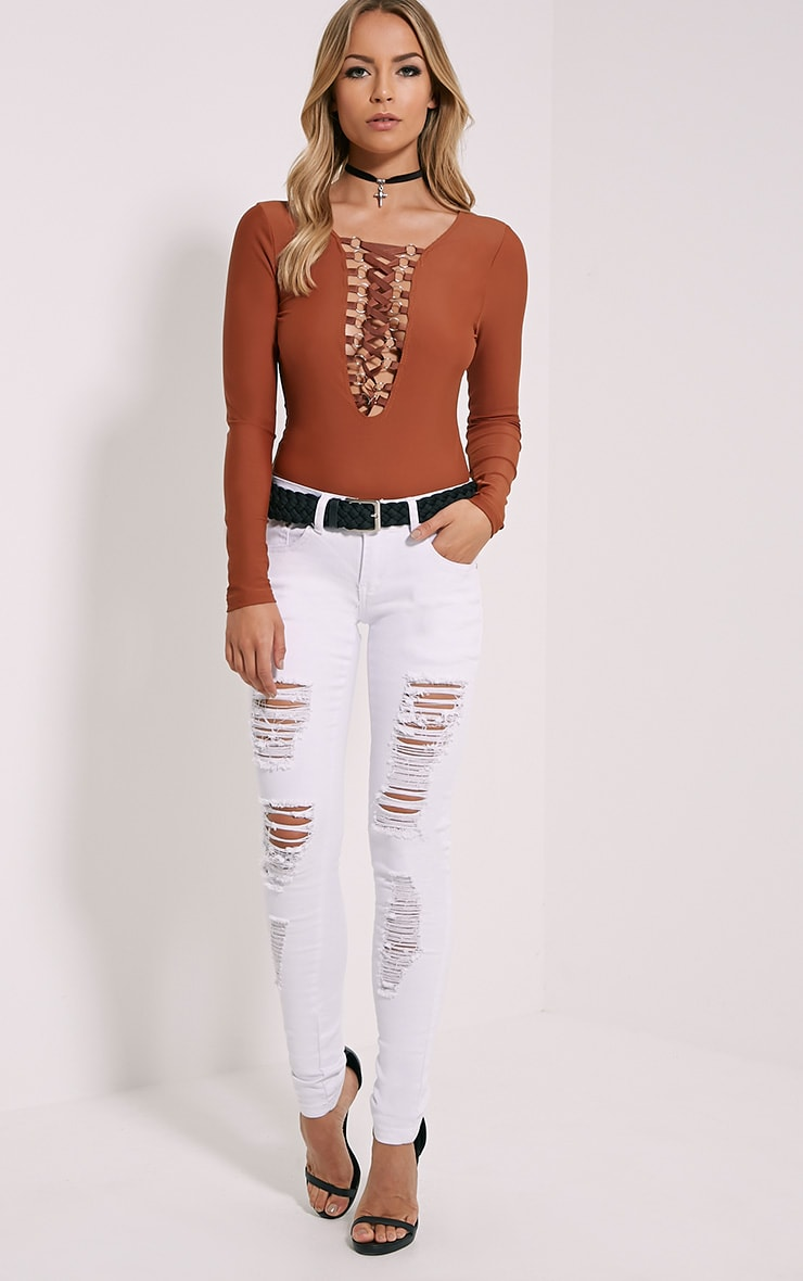 Enya Rust Lace Up Front Bodysuit 3
