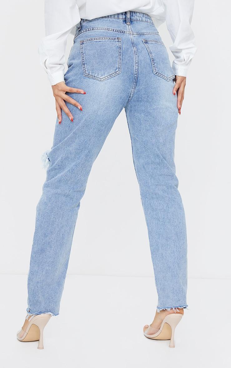 Vintage Wash Blue Raw Hem Knee Rip Mom Jeans 3