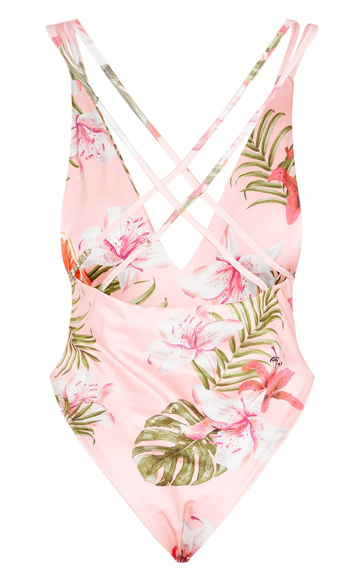 Tall Fruit Print Cross Back Low Swimsuit 4
