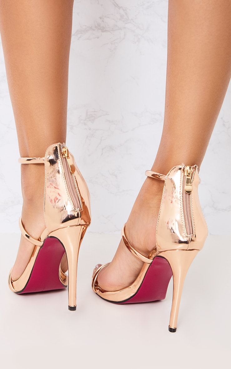 Marthea Rose Gold Tube Strap Heeled Sandals 3
