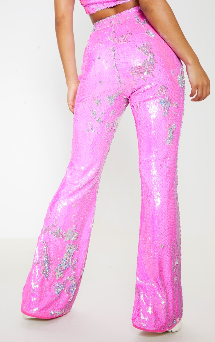 Baby Pink Sequin High Waisted Flare Leg Trousers 4