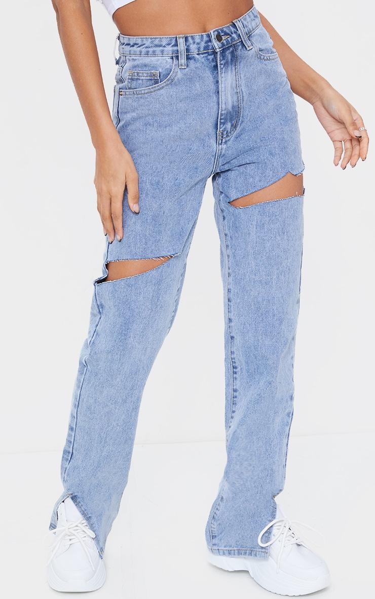 Light Blue Wash Thigh Rip Ripped Split hem Jeans 2