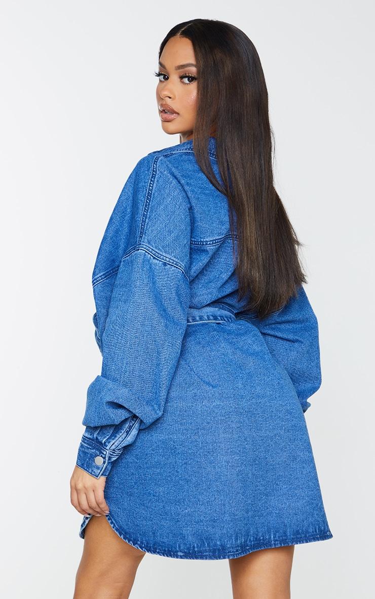 Mid Blue Wash Pocket Detail Off The Shoulder Oversized Denim Dress 2