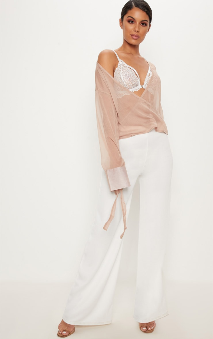 Nude Sheer Mesh Wrap Front Blouse 4