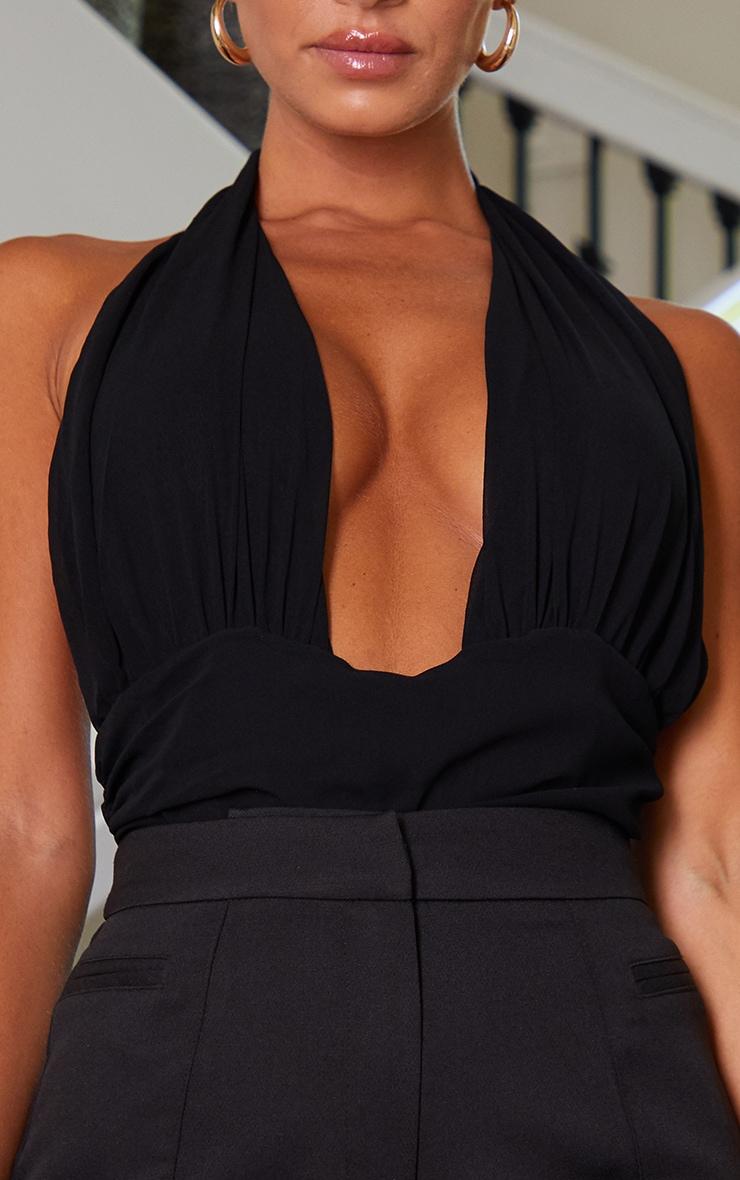Black Chiffon Ruched Waist Halterneck Bodysuit 4