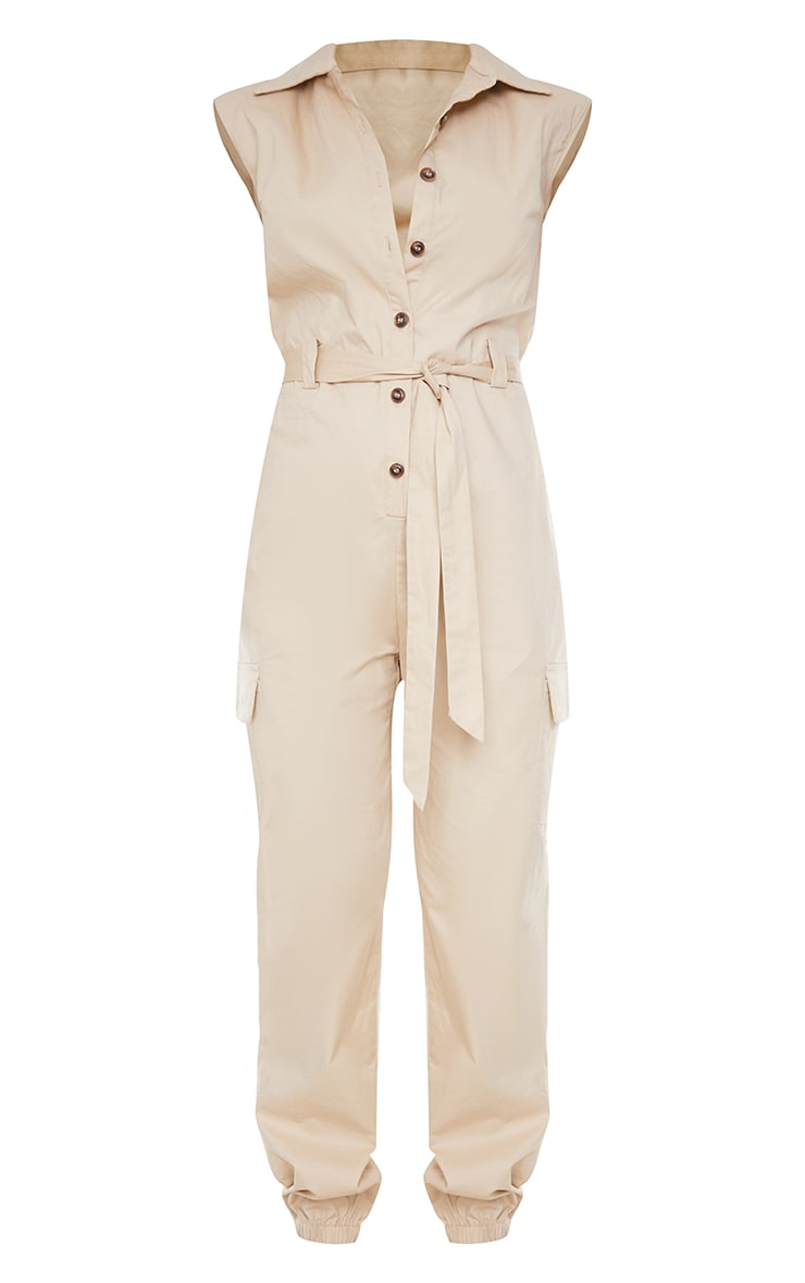 Stone Sleeveless Shoulder Pad Button Front Cargo Jumpsuit 5