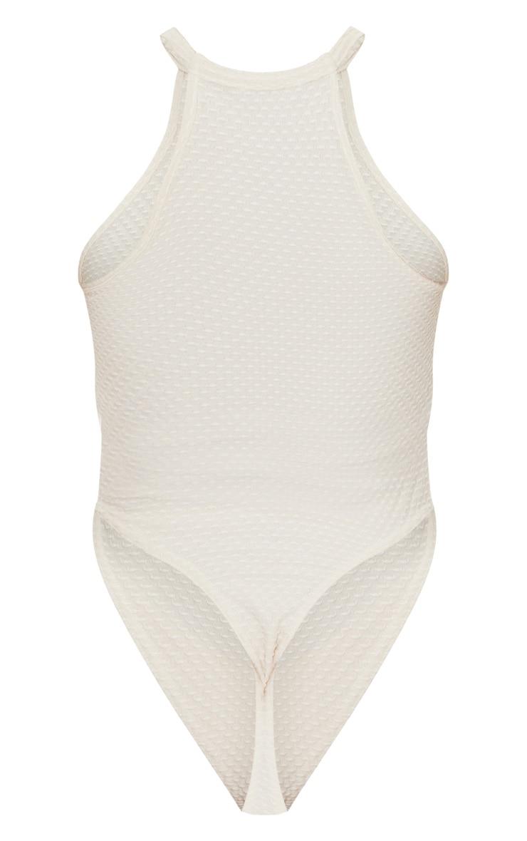Cream Textured Racer Bodysuit 6