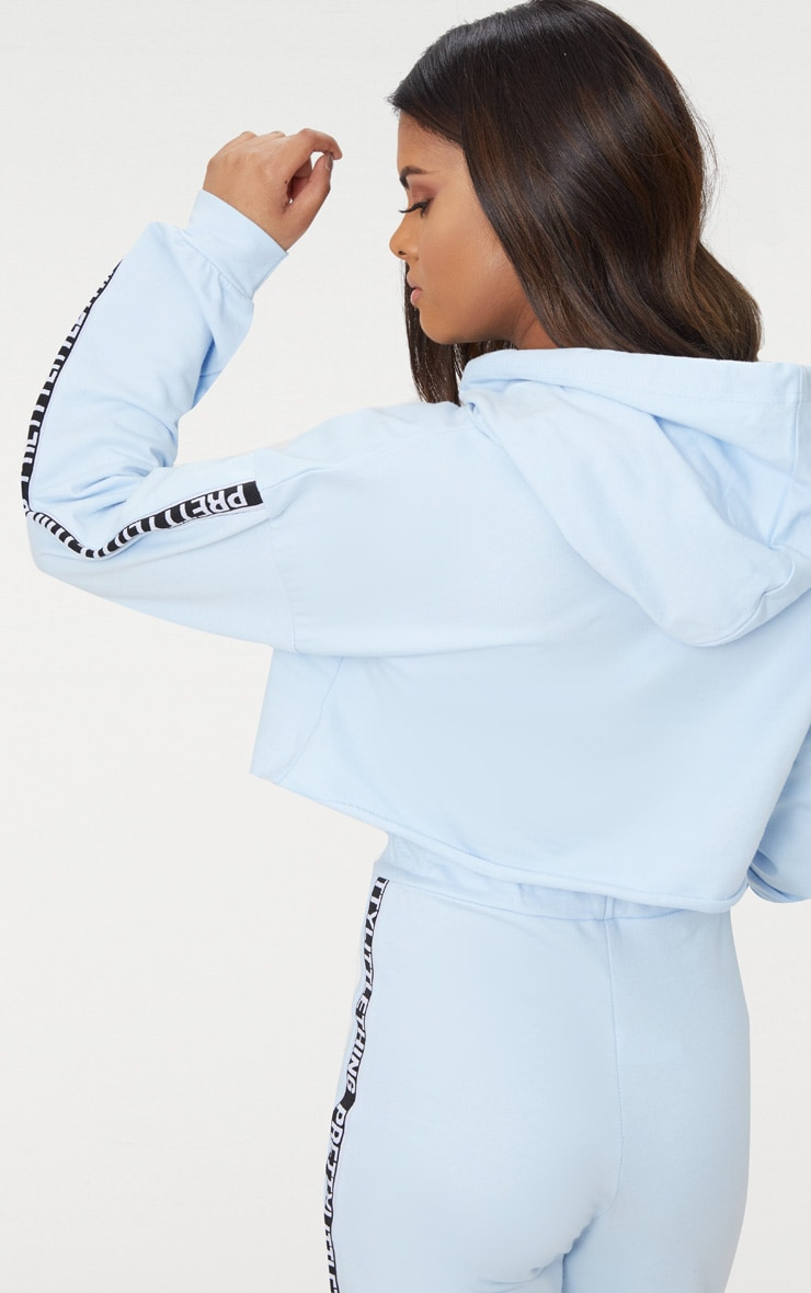 PRETTYLITTLETHING Petite Dusky Blue Cropped Hoodie 2